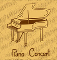 Background of grand piano and music stave vector image vector image