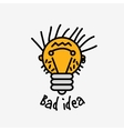 Bad idea color symbol bulb face logo icon fun sign vector image