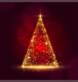 beautiful sparkle christmas tree shiny red vector image