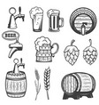 beer mugs wooden barrels hop wheat isolated