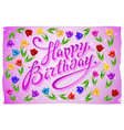 birthday template violet greeting card Happy vector image