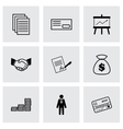 black business icons set vector image vector image