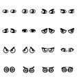 Black cartoon eyes icon set