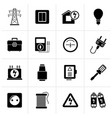 black power energy and electricity icons vector image