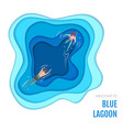 blue lagoon with swimming people paper cut design vector image vector image