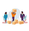 cardboard boxes concept with characters business vector image