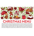 christmas menu banner with dishes and text sample vector image