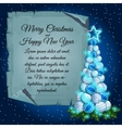 Christmas tree balls and card parchment for text vector image vector image