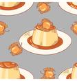 Creme caramel dessert seamless pattern in vector image vector image