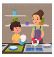 cute boy helps mom to wash dishes vector image