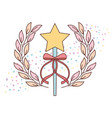 cute wand star ribbon accessory for princess vector image
