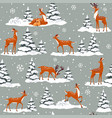 deer winter pattern vector image vector image