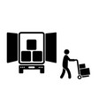 delivery person unloading from truck black vector image