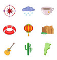 drought icons set cartoon style vector image vector image