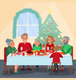 family christmas dinner with grandparents vector image vector image