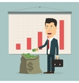 flat businessman with pile of vector image vector image