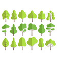 flat trees nature green collection plants vector image