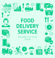 food delivery poster frame with silhouette icons vector image vector image