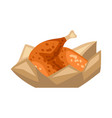 fried chicken on paper fast food snack vector image