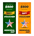 gift voucher design memorial day sale vector image vector image