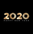gold happy new year 2020 modern 2020 text design vector image vector image