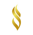 golden abstract fire flame shape symbol design vector image vector image
