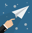 Hand launch paper rocket in space vector image vector image