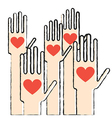 Hands with love vector image vector image