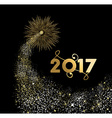 Happy new year 2017 gold firework design vector image vector image