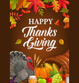 happy thanksgiving poster with turkey crop vector image vector image