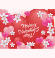 happy valentine day greeting banner with red and vector image