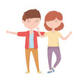 happy young couple together hugging cartoon vector image