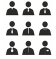 Human icons in different uniforms vector image