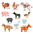 Livestock farm animals and birds cartoon icons vector image