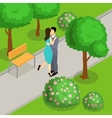 Loving Couple In Park Isometric Design vector image