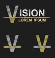 Metallic business font design - letter V vector image vector image