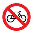 no bike allowed sign vector image vector image