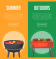 outdoor summer picnic flyers with meats on bbq vector image
