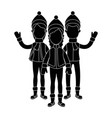 people with winter clothes vector image vector image