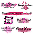 pink ribbon stickers from brushstrokes vector image vector image