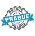 prague round ribbon seal vector image vector image