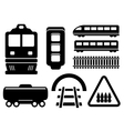 rail road icons set vector image