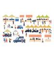 seasonal outdoor street market people walking vector image