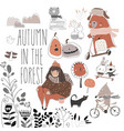set cute animals with autumn elements hello vector image vector image