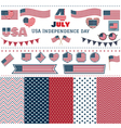 Set of American flags hearts patterns vector image