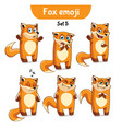 set of cute fox characters set 5 vector image vector image
