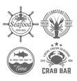 set of four emblems for seafood restaurant vector image