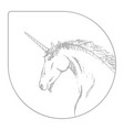 silhouette of a unicorn gray and white vector image vector image