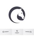 stylized white horse head in circle for mascot vector image