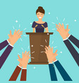 success in business woman giving a speech on vector image vector image